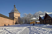 The walls and towers of the old Orthodox monastery. — Stock Photo