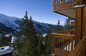 The view from the balcony of the hotel in the ski resort. — Stock Photo