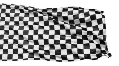 Realistic 3d seamless looping checkered flag waving in the wind.