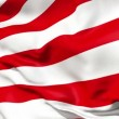 Realistic 3d seamless looping USA flag waving in the wind. - Stock Photo
