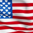 Realistic 3d seamless looping USA-love flag waving in the wind. — Stock Video