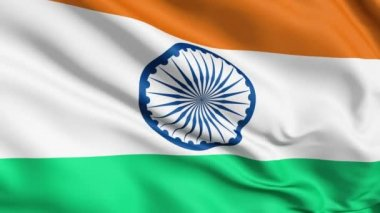 Realistic 3d seamless looping India flag waving in the wind.