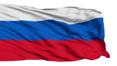 Realistic 3d seamless looping Russia flag waving in the wind. — Stock Video
