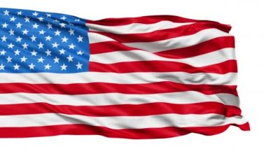 Realistic 3d seamless looping USA(United States) flag waving in the wind.