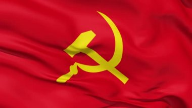 Realistic 3d seamless looping USSR national flag waving in the wind.