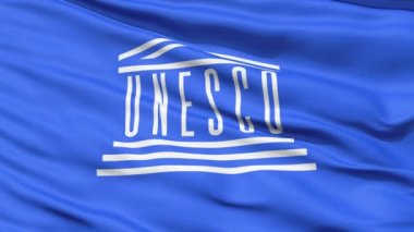 UNESCO Waving Flag — Stock Video