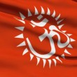 Flag With Hindu Aum - Stock Photo