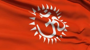 Flag With Hindu Aum — Stock Video