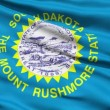 Stock Video: Waving Flag Of US State Of South Dakota