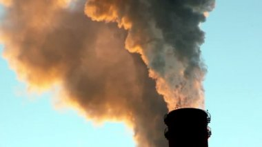 Chimneys Belching Smoke Environmental Pollution — Stock Video