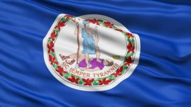 Waving Flag Of The Commonwealth Of Virginia, America, with the official seal depicting the Roman virue of Virtus in the centre.