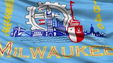 American State City Flag of Milwaukee — Stock Video