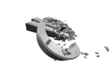 Rozpadające się euro — Wideo stockowe