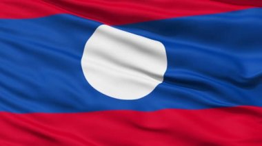 Closeup cropped view of a fluttering national flag of Laos