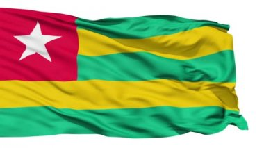 Animation of the full fluttering national flag of Togo isolated on white