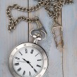 Vintage pocket watch with chain on table — Stock Photo #17073433