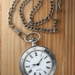 Vintage pocket watch with chain on table — Stock Photo #18040357