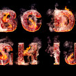 Set of hell burning letters — Stock Photo