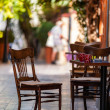 Empty coffee terrace with tables and chairs — Stock Photo #19619601