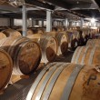 Cognac barrels in cellar - Foto Stock