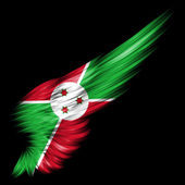 Burundi flag on Abstract wing with black background — Stock Photo