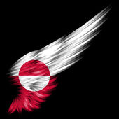 Flag of Greenland on Abstract wing with black background — Stock Photo