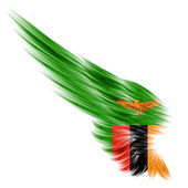 Flag of Zambia on Abstract wing with white background — Stock Photo