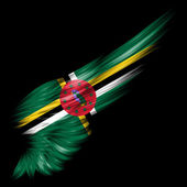 Dominica flag on Abstract wing with black background — Stock Photo