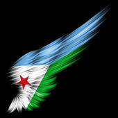 Djibouti flag on Abstract wing with black background — Stock Photo