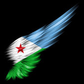 Flag of Djibouti on Abstract wing with black background — Stock Photo