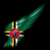 Flag of Dominica on Abstract wing with black background — Stock Photo