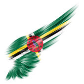 Flag of Dominica on Abstract wing with white background — Stock Photo