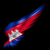 Flag of Cambodia on Abstract wing with black background — Stock Photo