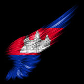 Cambodia flag on Abstract wing with black background — 图库照片