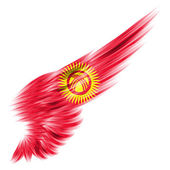 Kyrgyzstan flag on Abstract wing with white background — Stock Photo