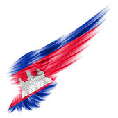 Flag of Cambodia on Abstract wing with white background — Stock Photo