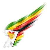 Flag of Zimbabwe on Abstract wing with white background — Stock Photo
