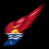 Kiribati flag on Abstract wing with black background — Stock Photo