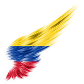 Colombia flag on Abstract wing with white background — Stock Photo