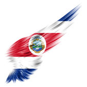 Costa Rica flag on Abstract wing with white background — Stock Photo