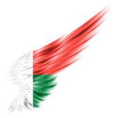 Flaga Madagaskaru na skrzydło streszczenie z białym tłem — Zdjęcie stockowe