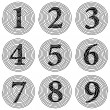 Stock Photo: Set of spiral numerals raster illustration