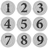 Set of spiral numerals raster illustration — Stock Photo
