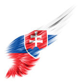 Slovakia Flag on Abstract wing with white background — Stock Photo