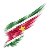 Flag of Suriname on Abstract wing with white background — Stock Photo