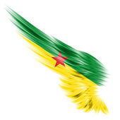 Flag of French Guiana on Abstract wing with white background — Stock Photo
