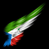 Flag of Equatorial Guinea on Abstract wing with black background — Stock Photo