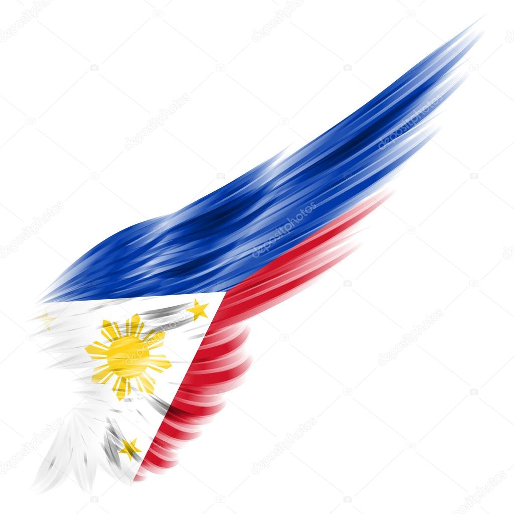 flag of the philippines on wing and white background