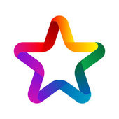 Colorful Star from ribbon on white background — Stock Photo