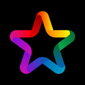 Colorful Star from ribbon on black background — Stock fotografie